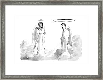 An Angel With An Enormous Halo Talking To Another Framed Print