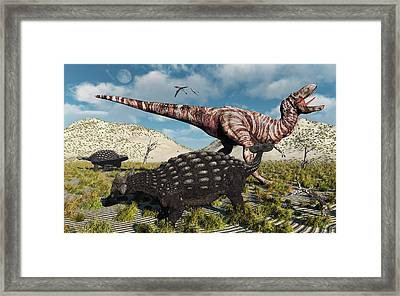 An Ankylosaurus Defending Itself Framed Print