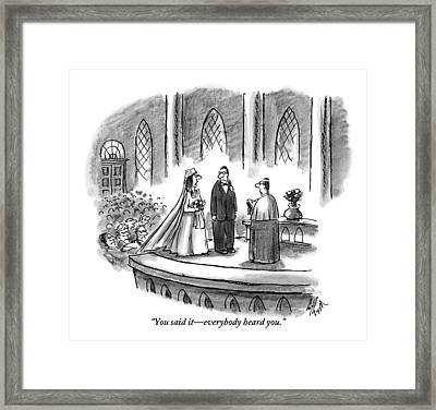 An Annoyed Wife Talks To Her Husband At The Altar Framed Print by Frank Cotham