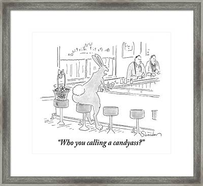 An Antagonized Easter Bunny Yells Across The Bar Framed Print