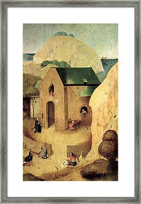 An Antonian Priory Oil On Panel Reverse Of 28165 Framed Print by Hieronymus Bosch