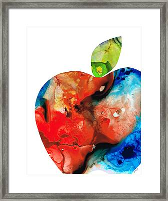 An Apple A Day - Colorful Fruit Art By Sharon Cummings  Framed Print by Sharon Cummings
