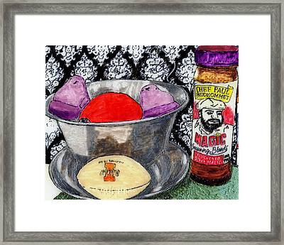 An Apple Purple Peeps And Paul Prudhomme Framed Print