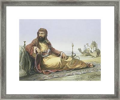 An Arab Resting In The Desert, Title Framed Print
