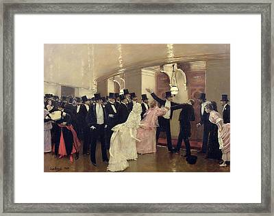An Argument In The Corridors Of The Opera Framed Print by Jean Beraud