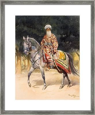 An Armed Warrior Mounted On A Turkoman Framed Print