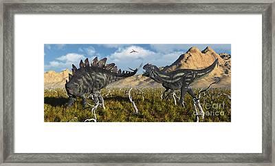 An Armor Plated Stegosaurus Defending Framed Print