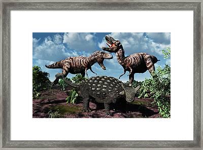 An Armored Ankylosaurus Protecting Framed Print