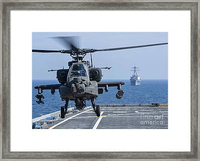 An Army Ah-64d Apache Helicopter Takes Framed Print
