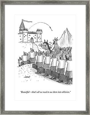 An Army Of Vikings Hold Briefcases Framed Print by Tom Cheney