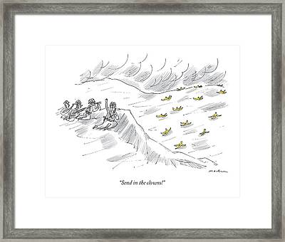 An Army Platoon Overlooks A Hill Covered Framed Print by Michael Maslin