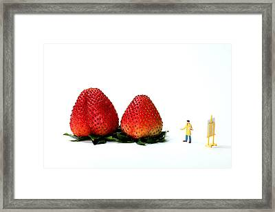 An Artist Drawing Strawberries Framed Print by Paul Ge