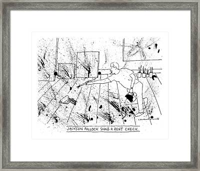 An Artist, Presumable Jackson Pollock, Reaches Framed Print by Michael Crawford
