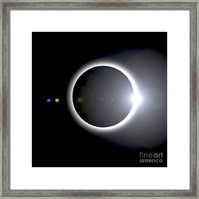 An Artists Depiction Of A Solar Eclipse Framed Print by Marc Ward