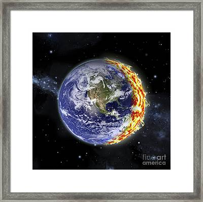 An Artists Depiction Of Planet Earth Framed Print by Marc Ward