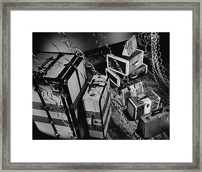 An Assortment Of Luggage With Confetti Falling Framed Print by Martin Bruehl