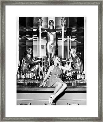 Sexy Woman On The Bar Framed Print