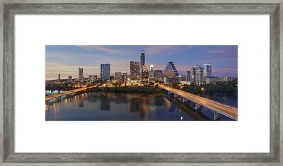 A Panorama Of The Austin Skyline Over Lady Bird Lake Framed Print by Rob Greebon