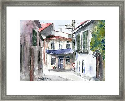 Framed Print featuring the painting An Authentic Street In Urla - Izmir by Faruk Koksal