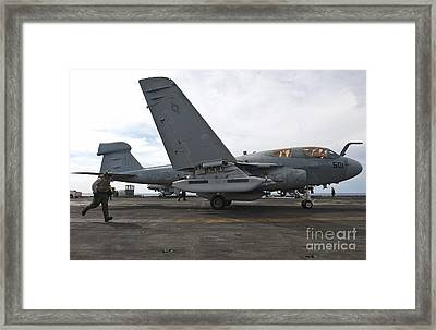 An Ea-6b Prowler Prepares To Launch Framed Print by Stocktrek Images