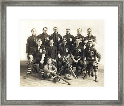 An Early Sf Baseball Team Framed Print by Underwood Archives