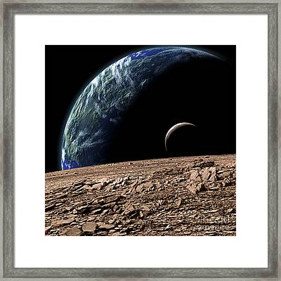 An Earth-like Planet In Deep Space Framed Print by Marc Ward