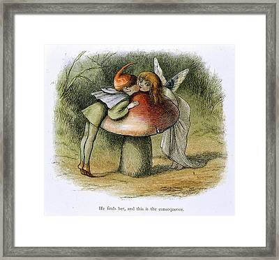 An Elf And A Fairy Kissing Framed Print by British Library