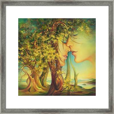 An Encounter At The Edge Of The Forest Framed Print