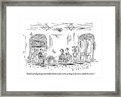 An Engaged Couple Meets With A Priest In A Church Framed Print