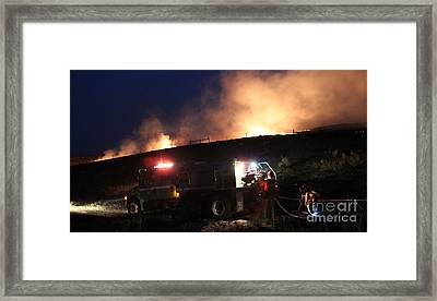 An Engine Crew Works At Night On White Draw Fire Framed Print