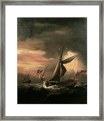An English Royal Yacht And Others Shipping In Heavy Seas Framed Print by Willem van de Velde the Younger