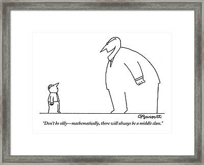 An Enormous Executive Speaks To A Small Office Framed Print by Charles Barsotti