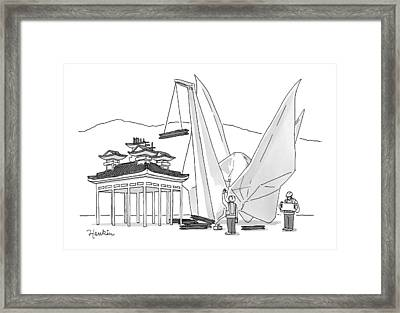 An Enormous Origami Crane Lifts Wood Framed Print