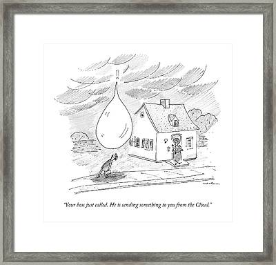 An Enormous Rain Drop Falls Out Of The Sky Onto Framed Print by Michael Maslin