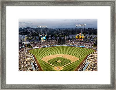 An Evening At Dodger Stadium Framed Print by Mountain Dreams