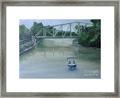 An Evening  Boat Ride On Lachine Canal Framed Print by Reb Frost