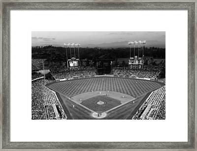 An Evening Game At Dodger Stadium Framed Print
