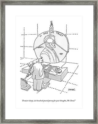 An Evil Criminal Holds A Lever That Is Lowering Framed Print by Jack Ziegler