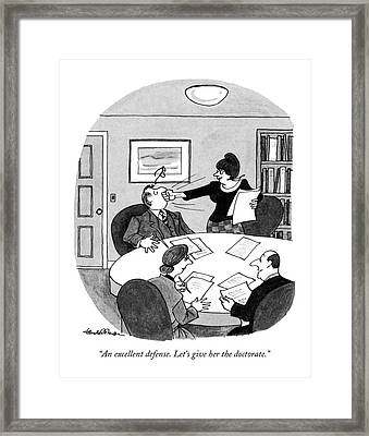 An Excellent Defense. Let's Give Framed Print by J.B. Handelsman