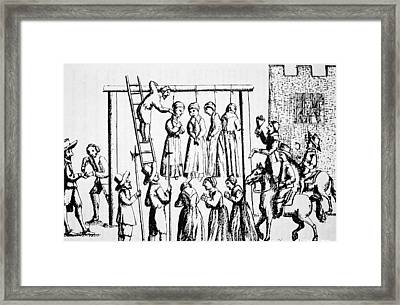 An Execution Of Witches In England Framed Print