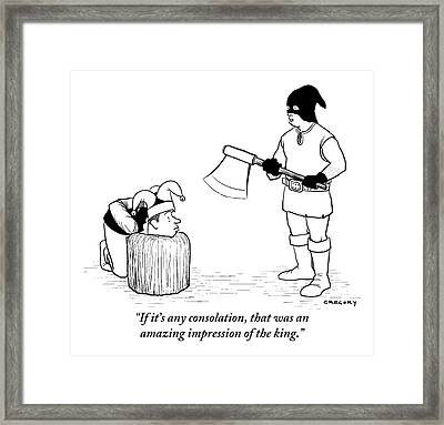 An Executioner Addresses A Jester Framed Print