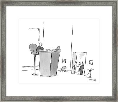 An Executive Is Seated At An Extremely Raised Framed Print by Liza Donnelly
