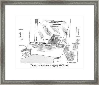 An Executive Sitting In His Office Speaks Framed Print by Mick Stevens