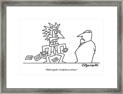 An Executive Speaks To A Stressed And Geometric Framed Print