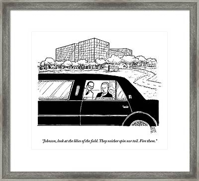 An Executive Speaks To His Employee In The Back Framed Print