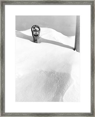 An Expired Parking Meter In The Snow Framed Print