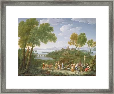 An Extensive Italianate Landscape With A Sacrifice, 1728 Oil On Canvas Framed Print