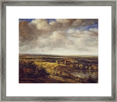 An Extensive Landscape, 1666 Oil On Canvas Framed Print by Phillips de Koninck