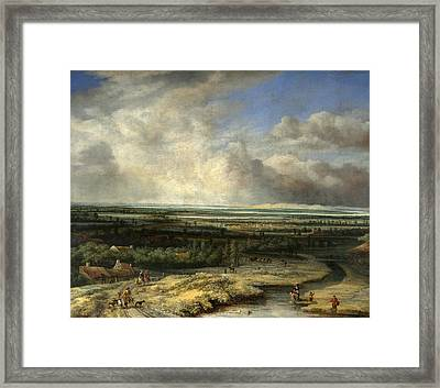 An Extensive Landscape With A Hawking Party Framed Print