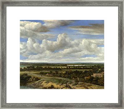 An Extensive Landscape With A Road By A River Framed Print by Philips Koninck